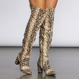 Size 6 Cherish Over the Knee Snake Print Boots